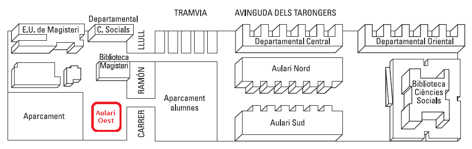 planol aulari oest universitat valencia